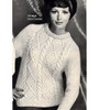 Vintage Aran Sweater Knitting Pattern, Crew Neck