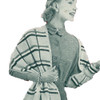 Plaid Knitted Shawl Pattern, Vintage 1950s