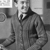 Mans Knitting Pattern for Cable Cardigan, Vintage 1940s.