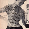 Double Breasted Knit Checked Blouse Pattern, Vintage 1953