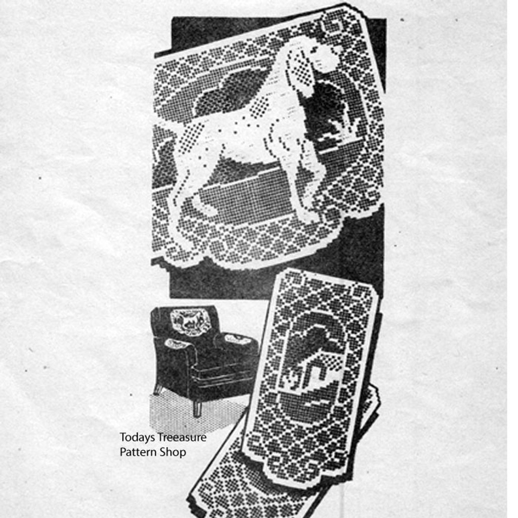 Pointing Dog Filet Crochet Scarf Pattern No 3159