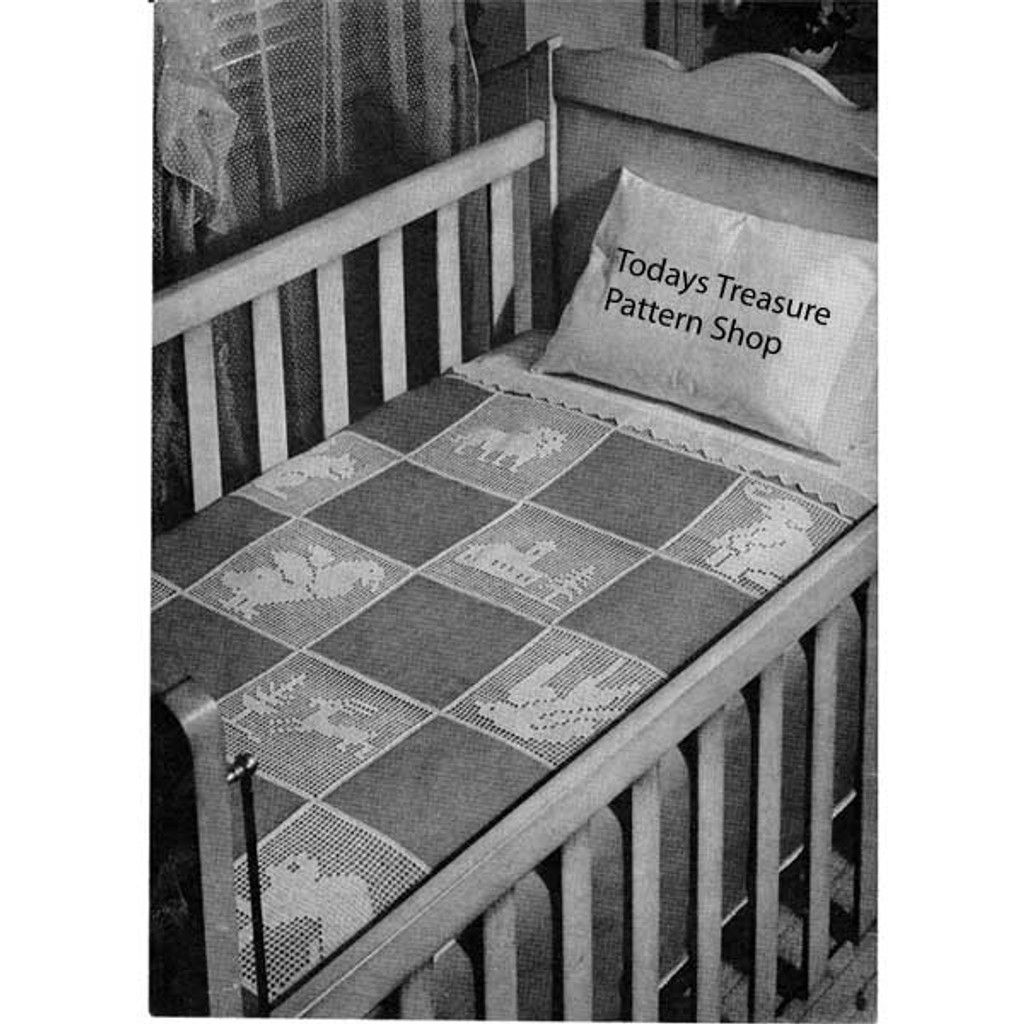 Vintage Animal Baby Blanket Filet Crochet Pattern