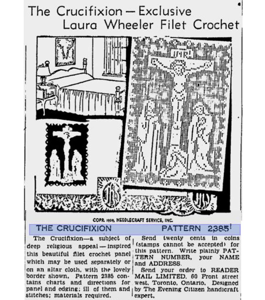 Filet Crochet Jesus Crucifixion Wall Panel Edgings Pattern Design 7447