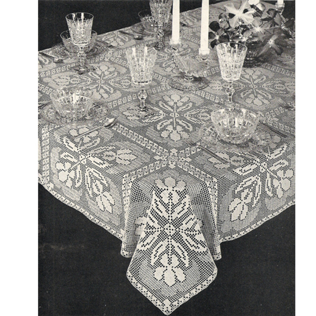 Shadow Filet Crochet Iris Flower Table Cloth Pattern No 7584