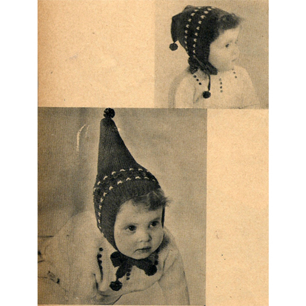 Vintage Childs Pixie Hat Knitting Pattern