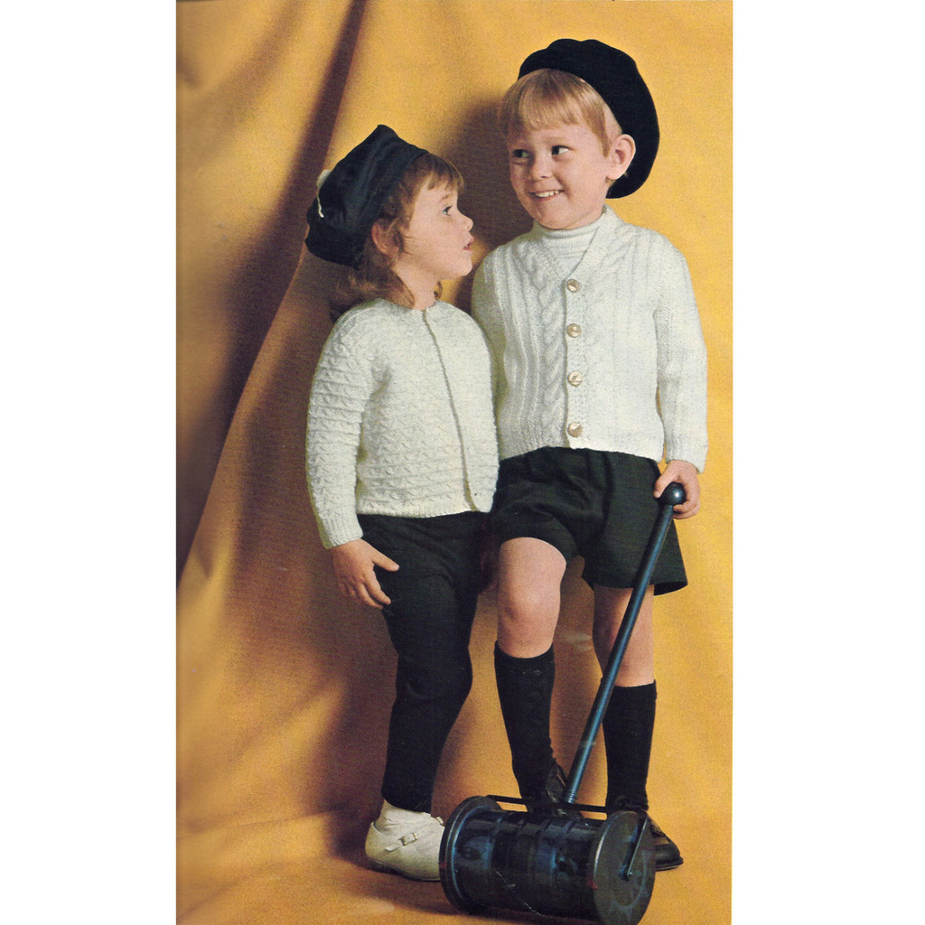 Childs Knitting Pattern for Cardigan Sweaters from Columbia Minerva
