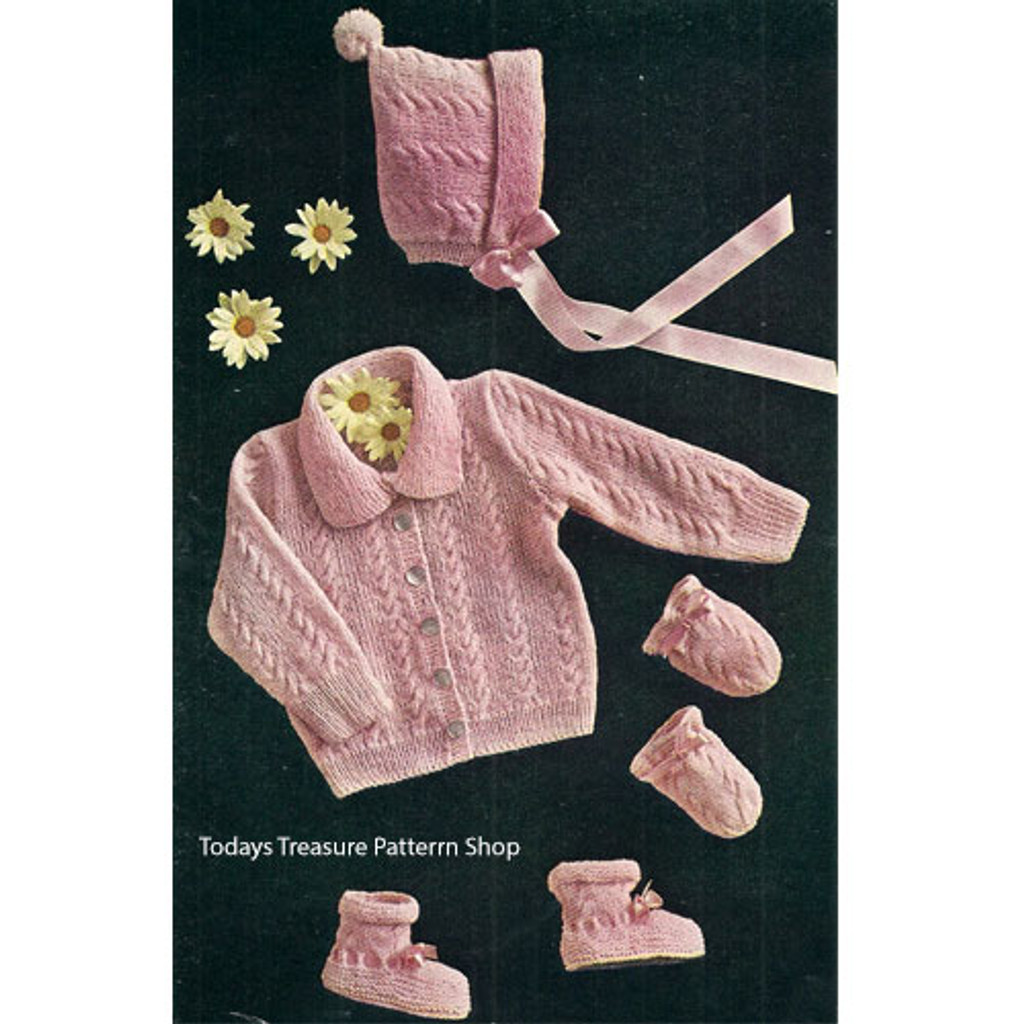 Baby Cabled Jacket Cap Knitting Pattern