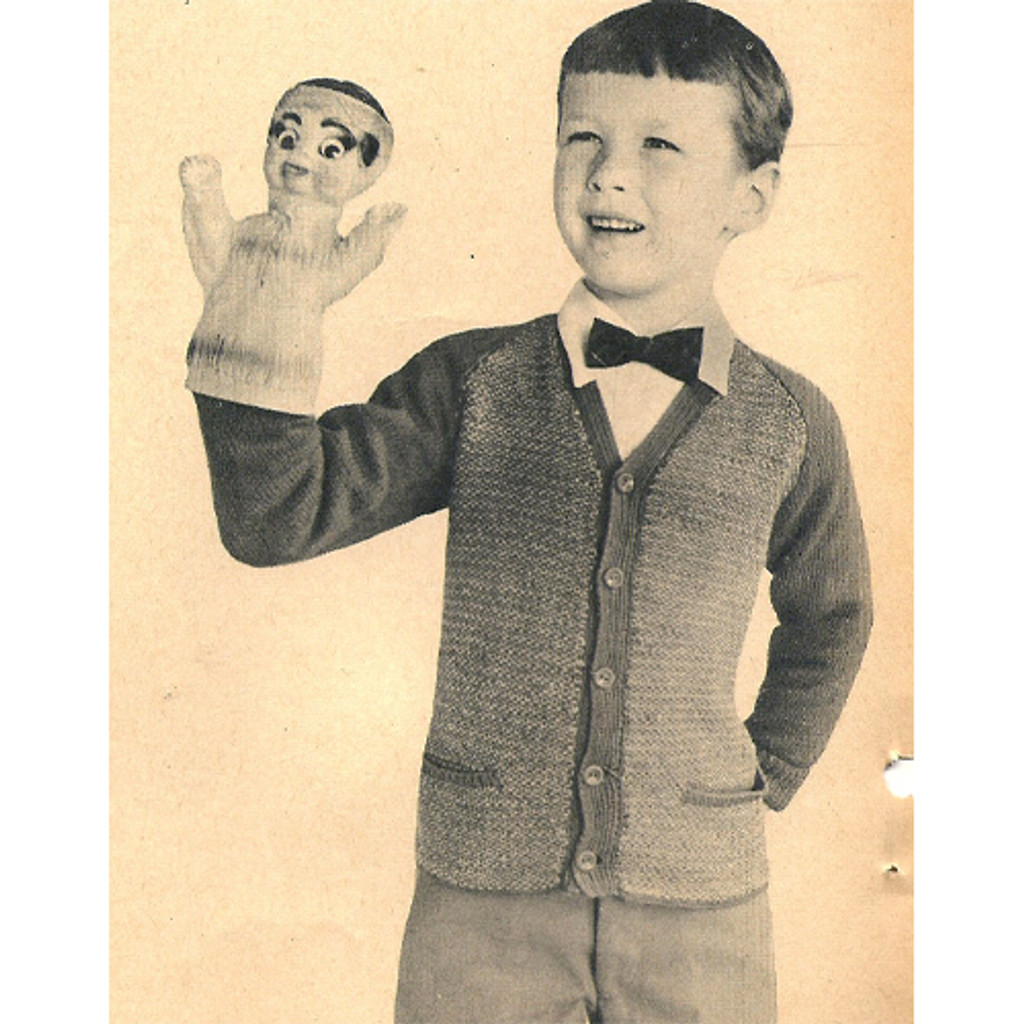 Boys Raglan Cardigan Knitting Pattern Size 6 8 10 12