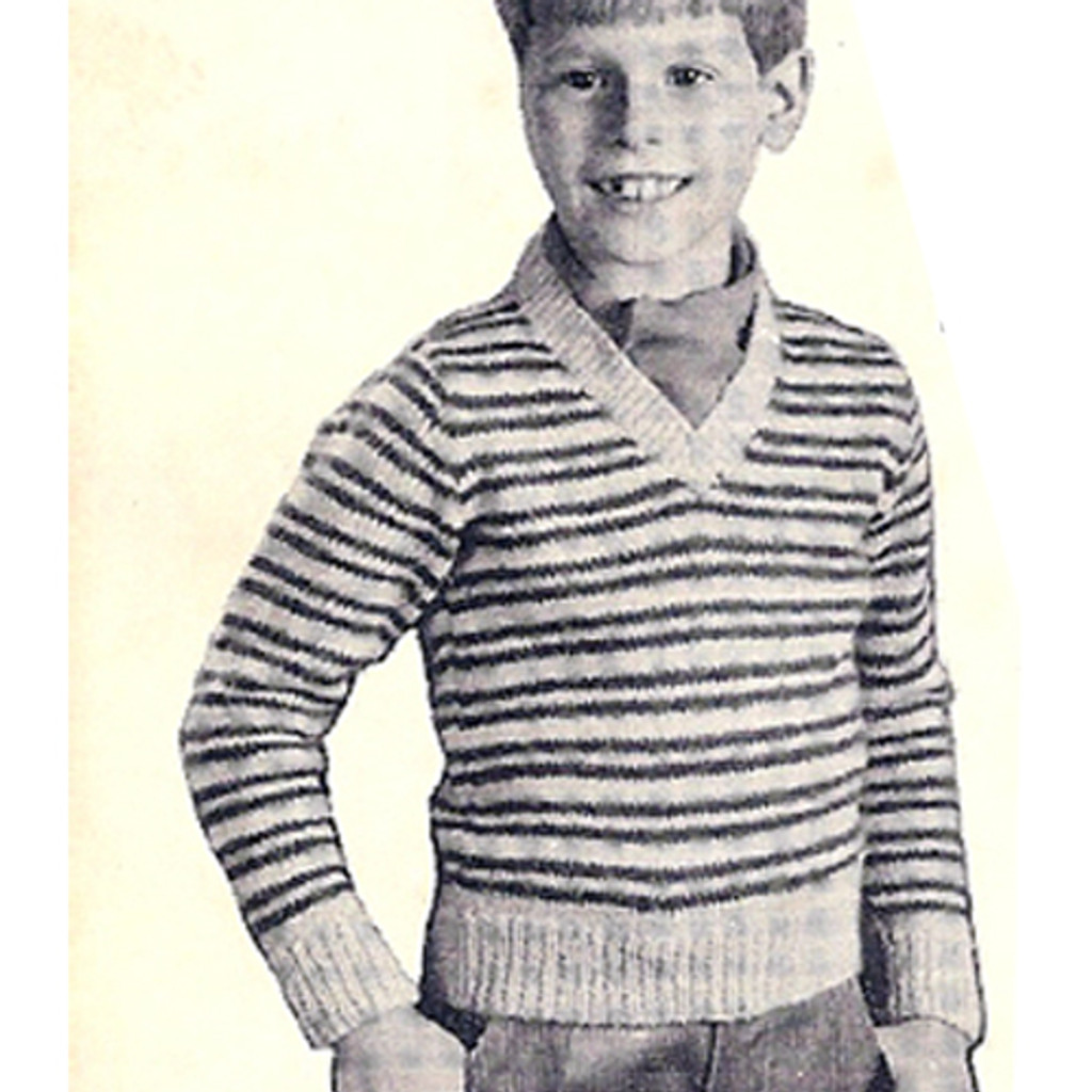 Boys Striped Knitted Pullover Pattern from Coats & Clarks