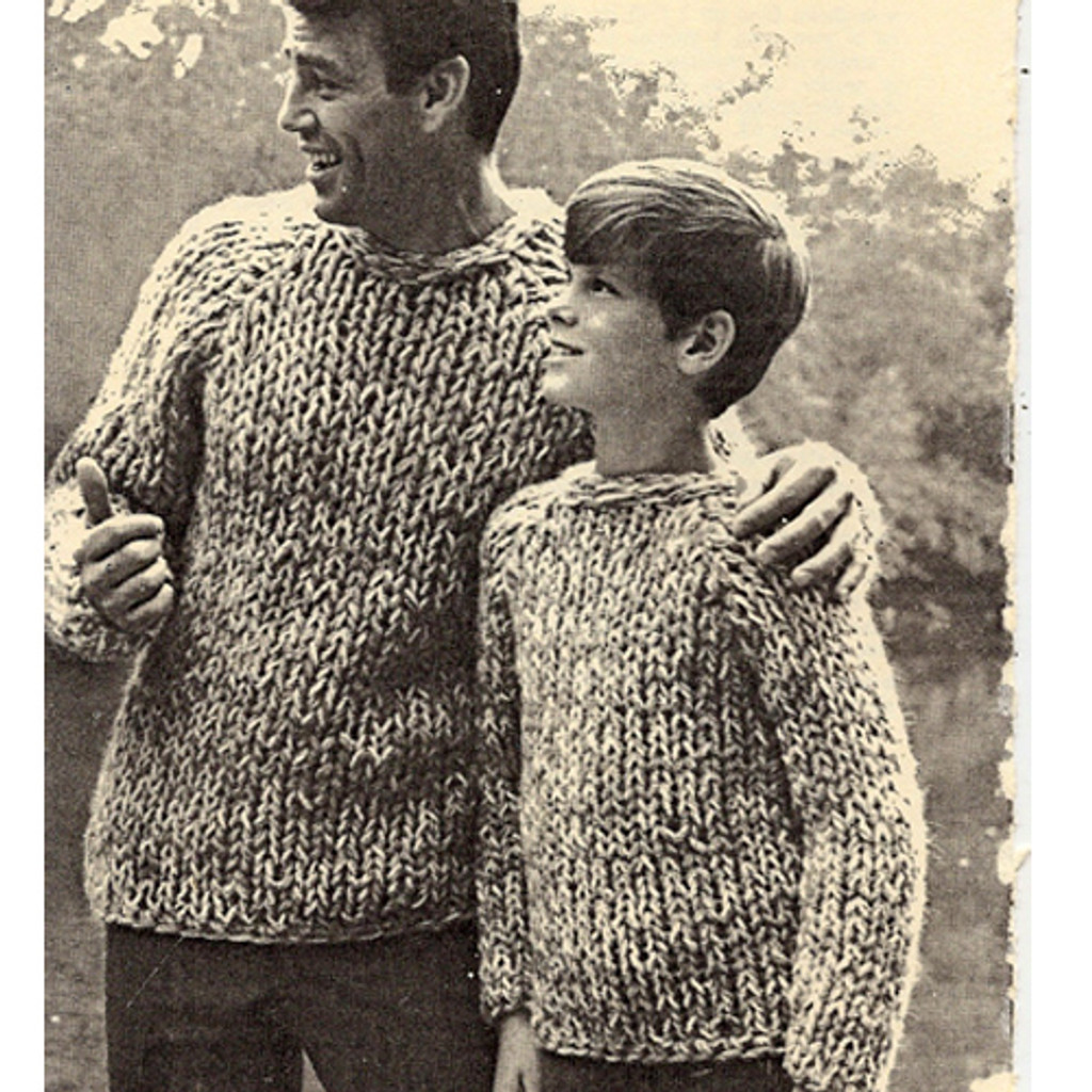 Mens Boys Pullover Sweater Knitting Pattern Big Needle