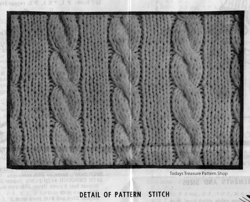 Cable Pattern Stitch for Pullover Tops Pattern