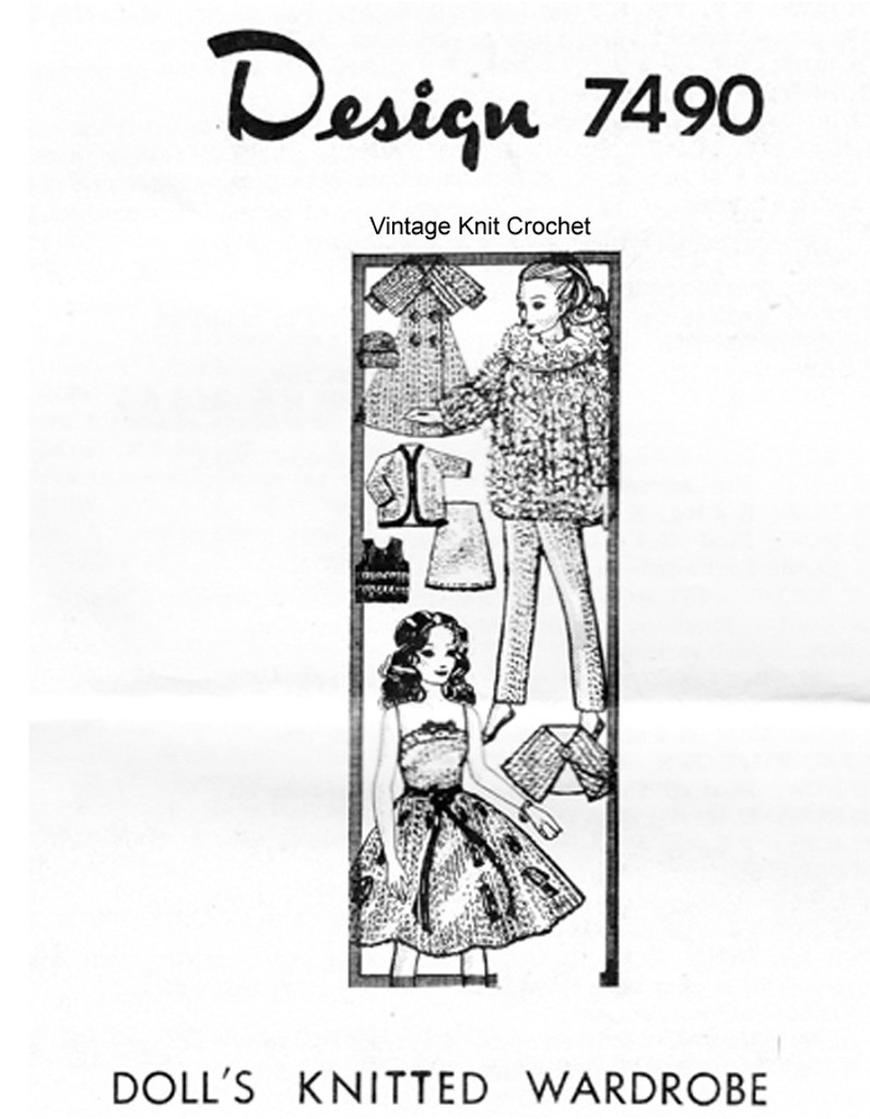 Barbie Doll Clothes Knitting Pattern, Mail Order Design 7490