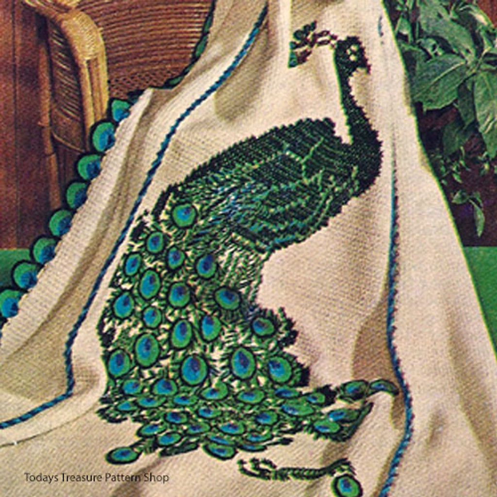 Crocheted Peacock Embroidered Afghan Pattern