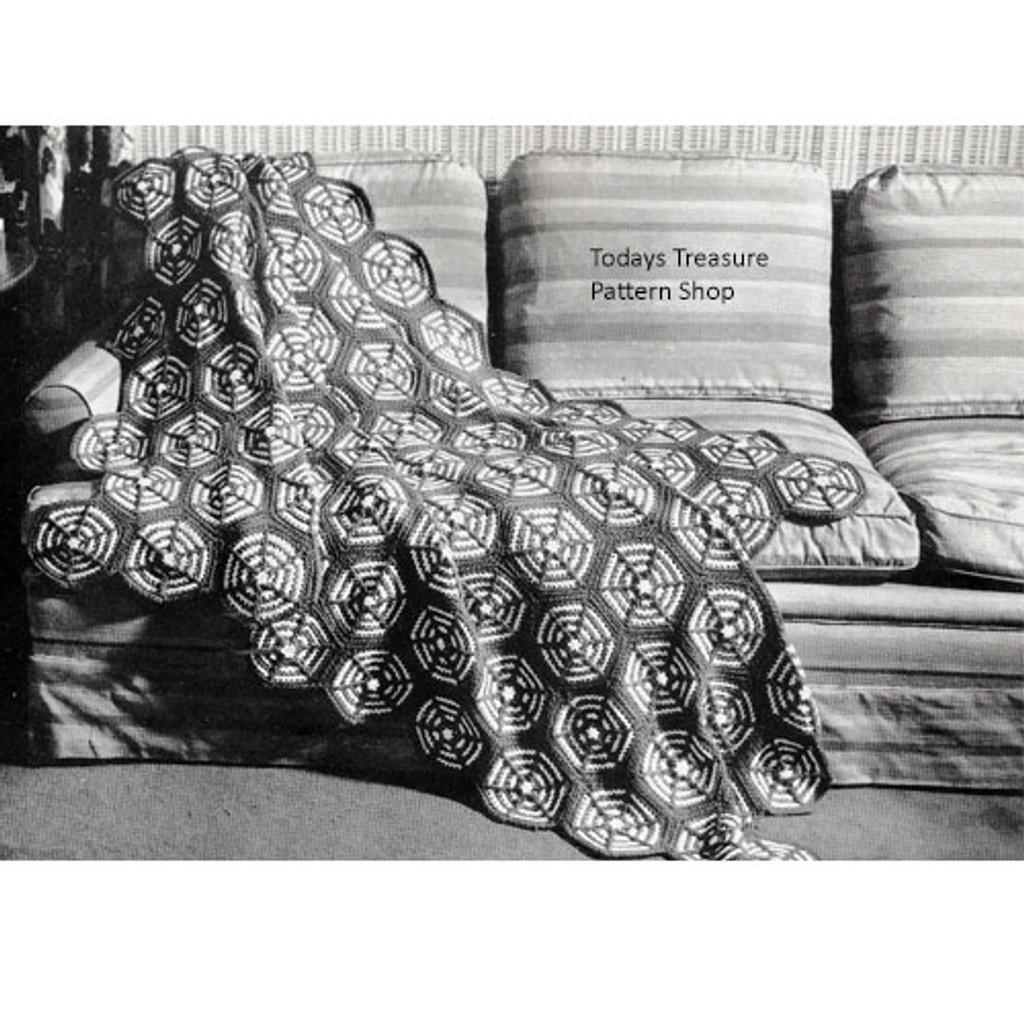 Vintage Wagon Wheel Crochet Afghan pattern