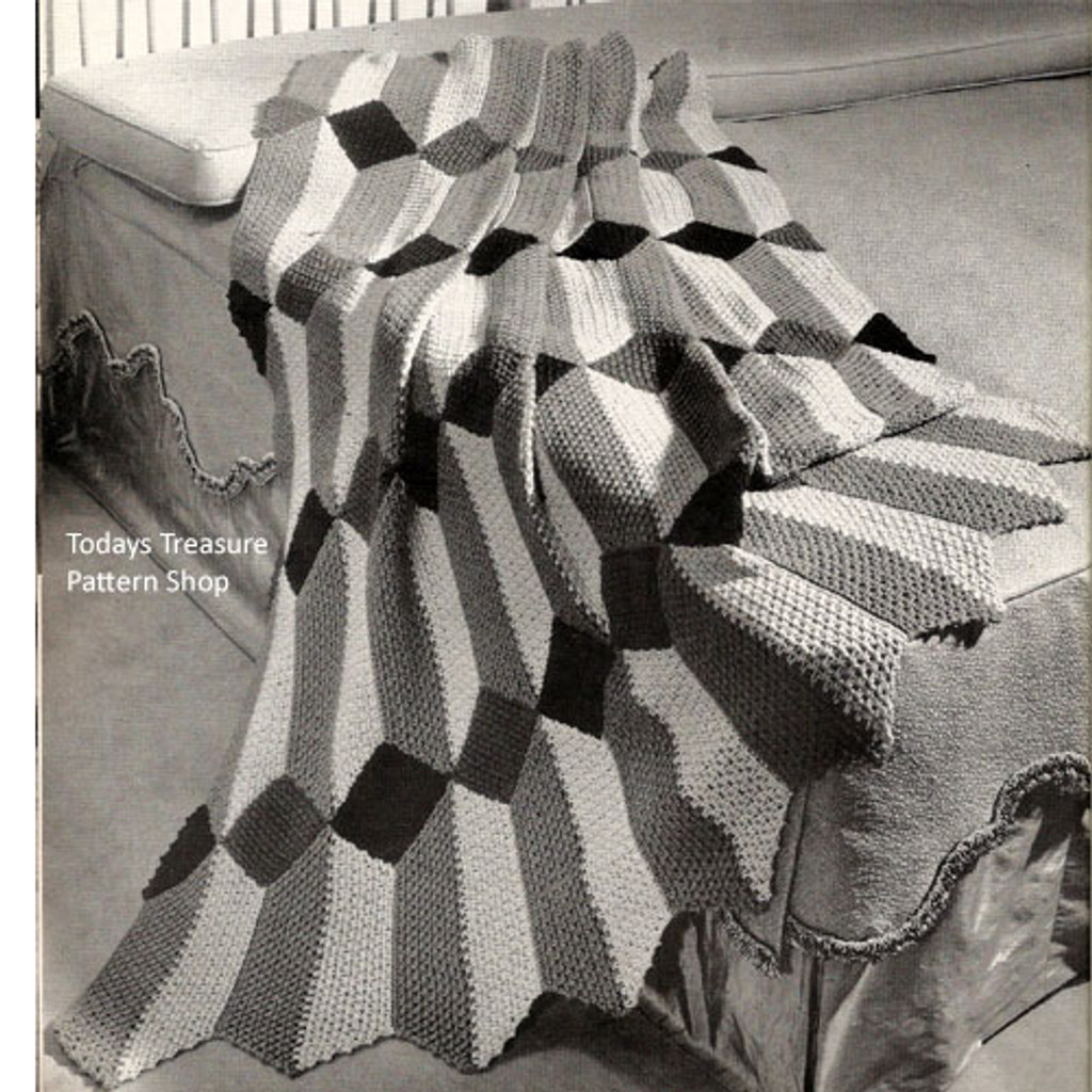 Vintage Geometric Striped Crochet Afghan Pattern