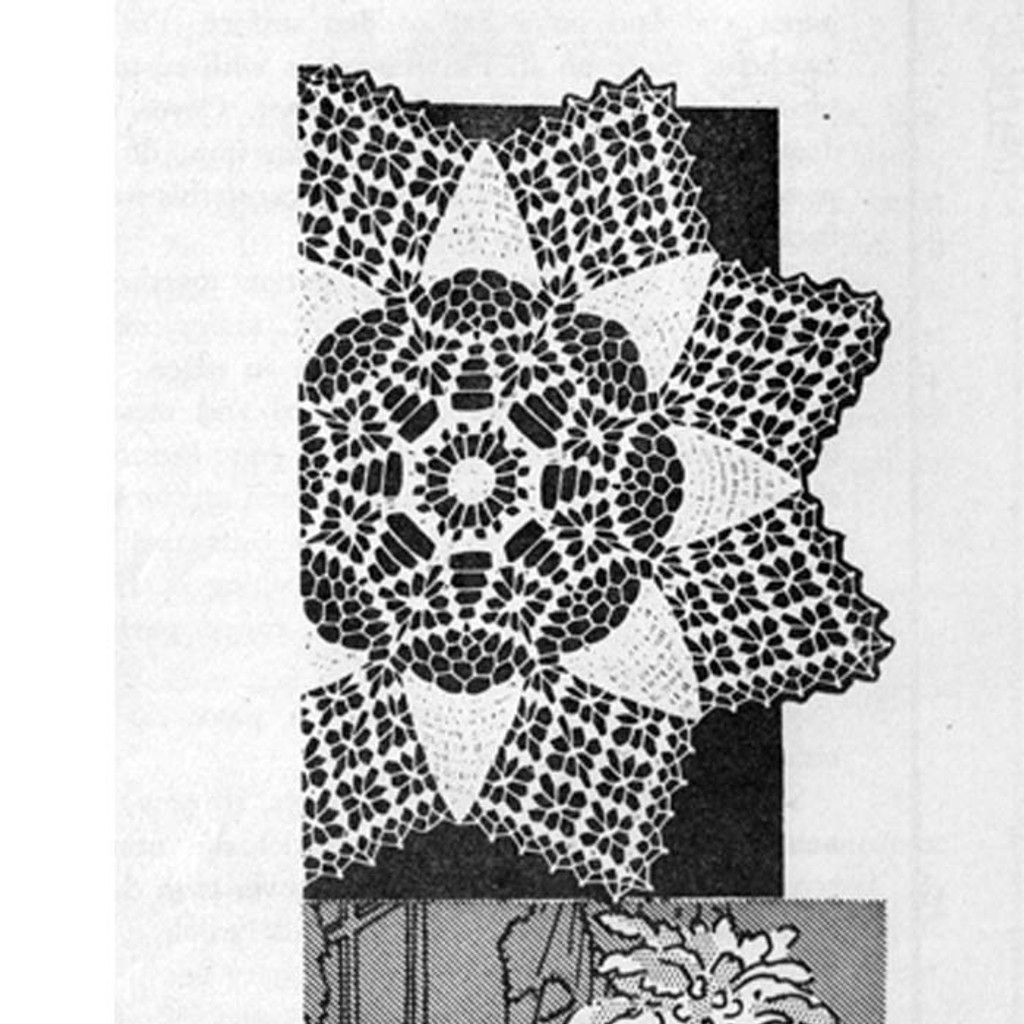 Crocheted Star Doily Pattern, Design 3128