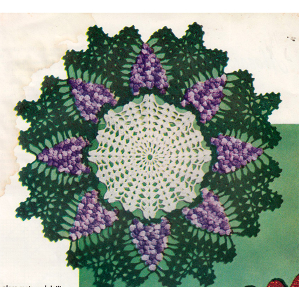 Crocheted Grape Doily Pattern, Vintage 1960s