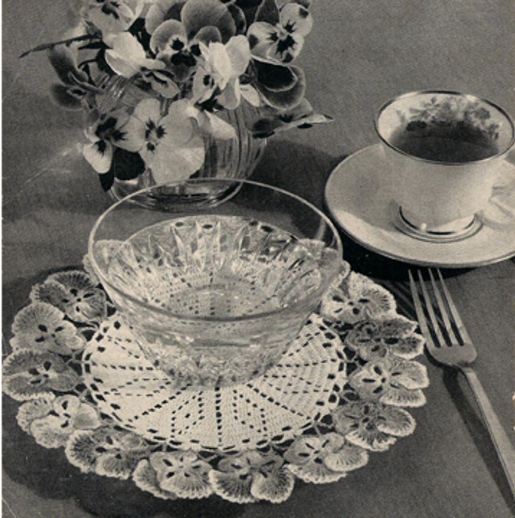Vintage Pansy Bordered Doily Crochet Doily Pattern