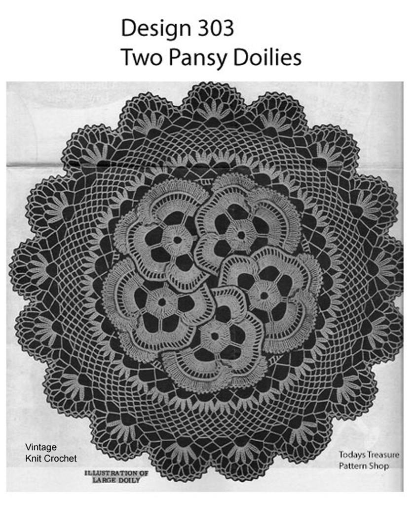 Crochet Centerpiece Pansy Doily Pattern, Mail Order 303