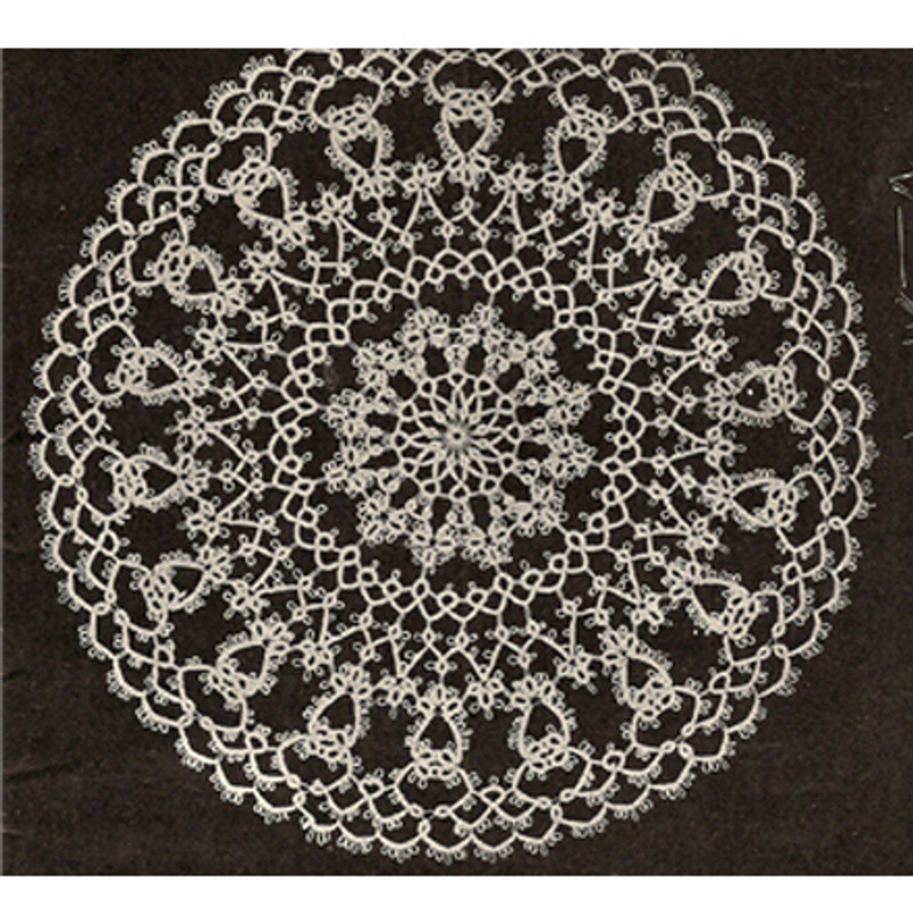 Medium Tatted Doily Pattern in Flower Motif