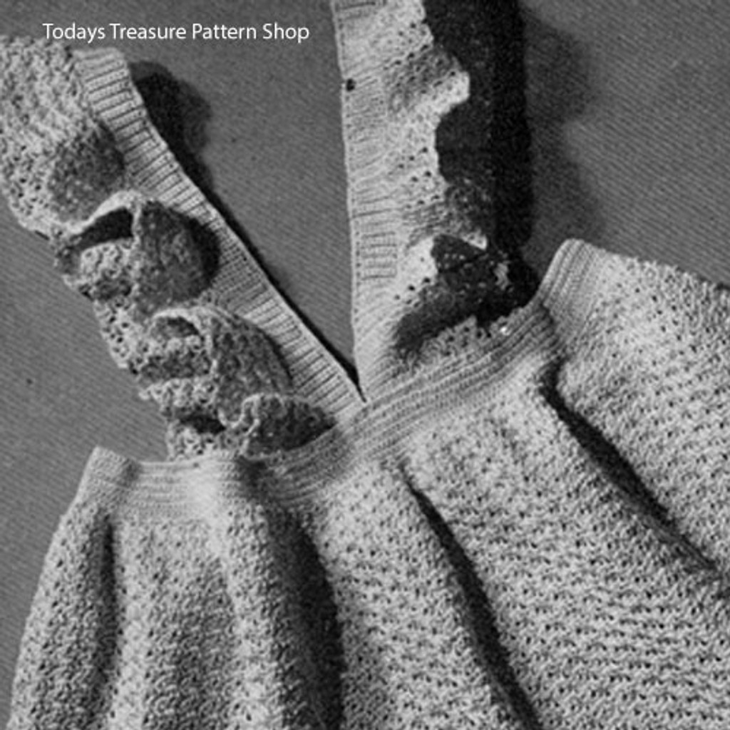 Crocheted Baby Pinafore Dress Pattern, Vintage 1940s