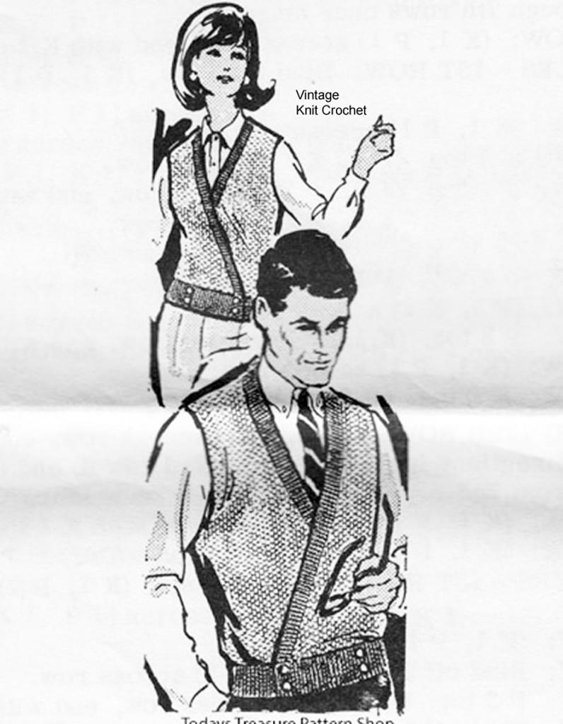 Mail Order Unisex knitted vest pattern, Laura Wheeler 601