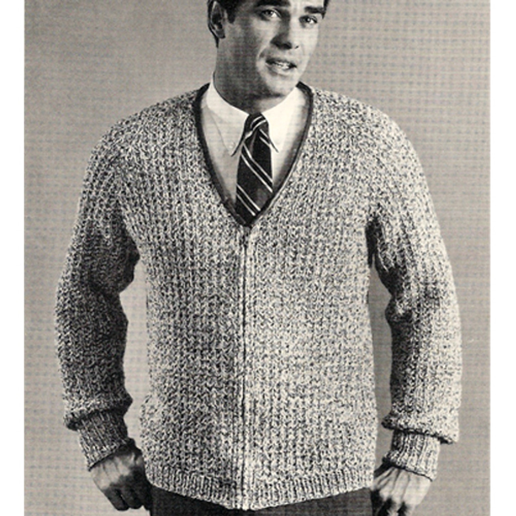Vintage Mans Knitted Ribbed Cardigan with Zipper Closure