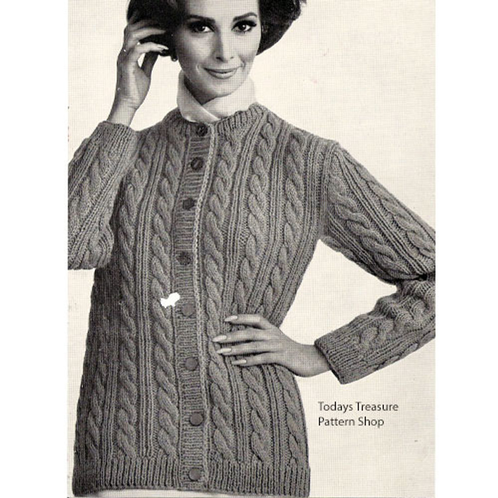 Womans Large Cable Cardigan Knitting Pattern