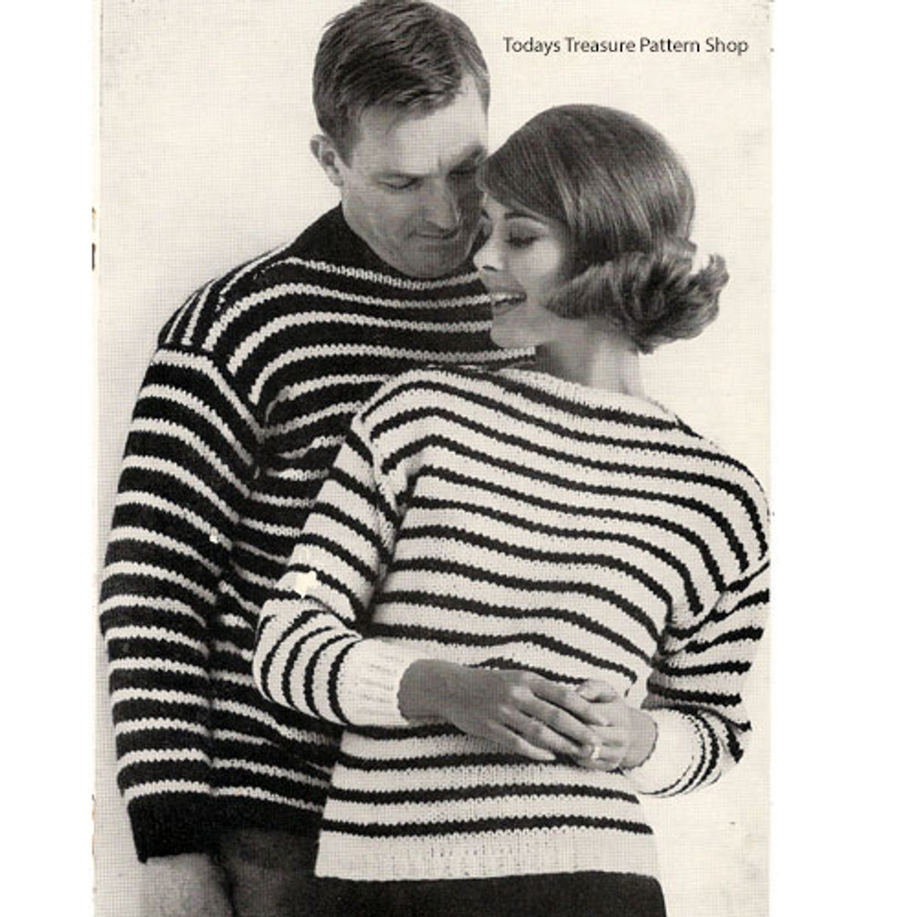 His & Hers Knitted Striped Sweaters Pattern
