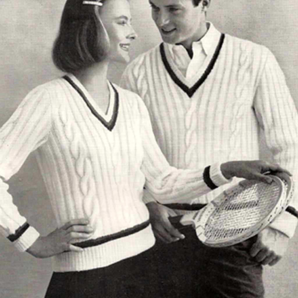 His & Hers Knitting pattern for cabled tennis sweaters