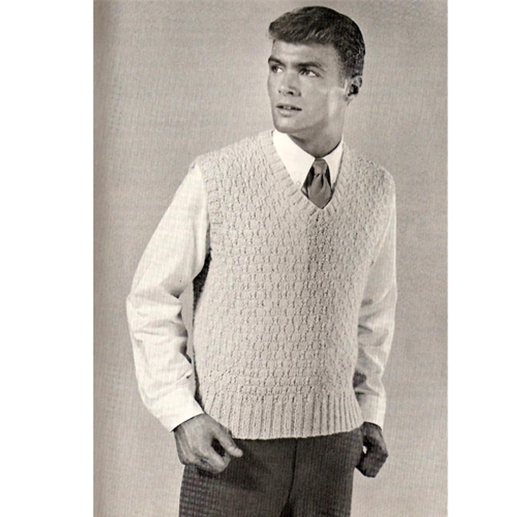 Mens Free Knit Pullover Vest PDF Pattern