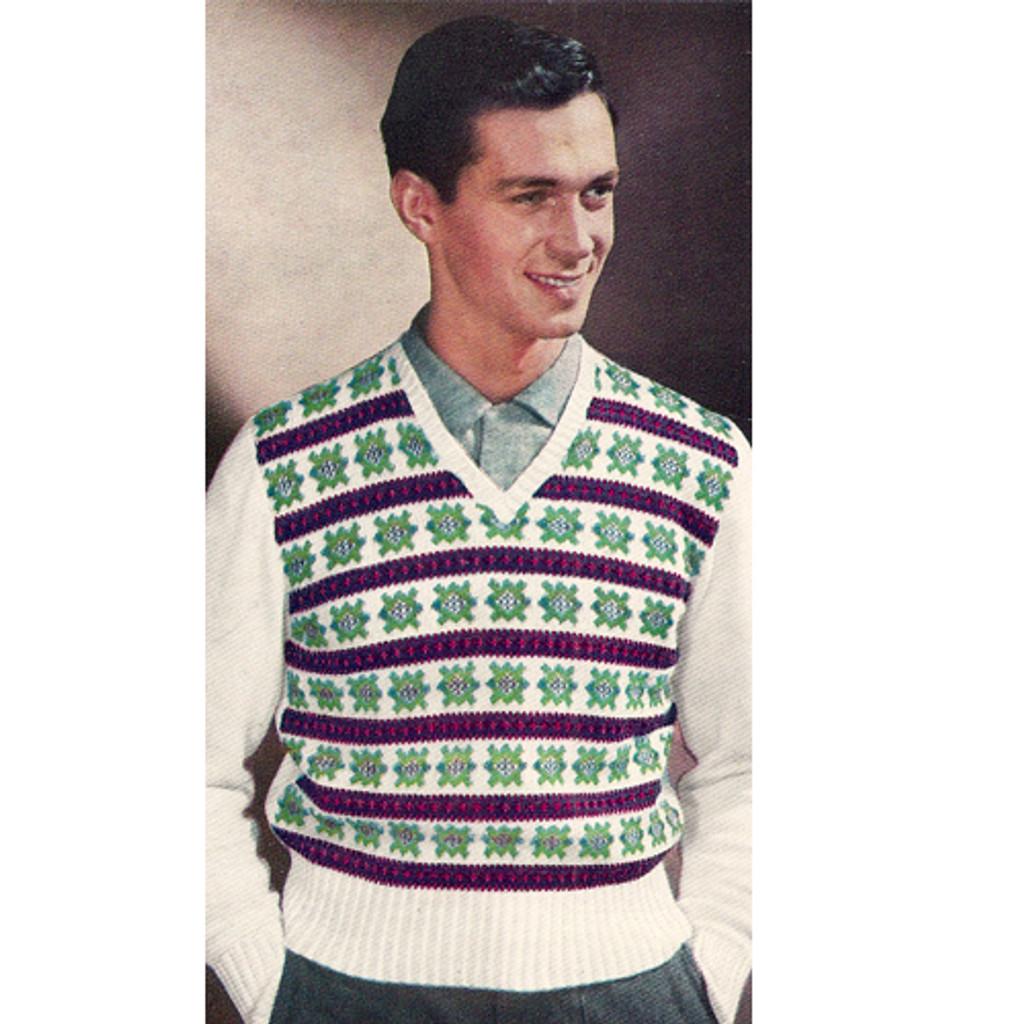 Mens Knit Fair Isle Sweater Pattern