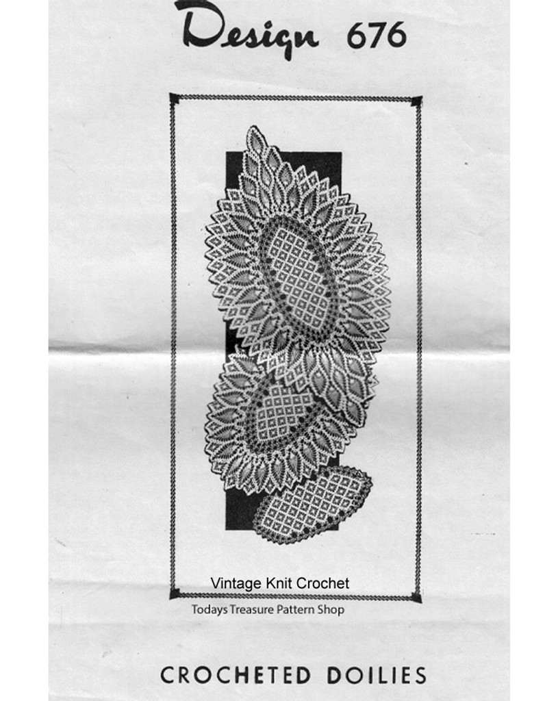 Oval Pineapple Crocheted Doily pattern, Mail Order 676