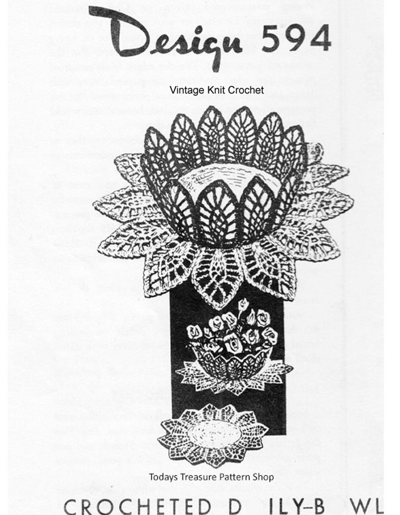 Crochet Fruit Basket Doily Pattern, Mail Order 594