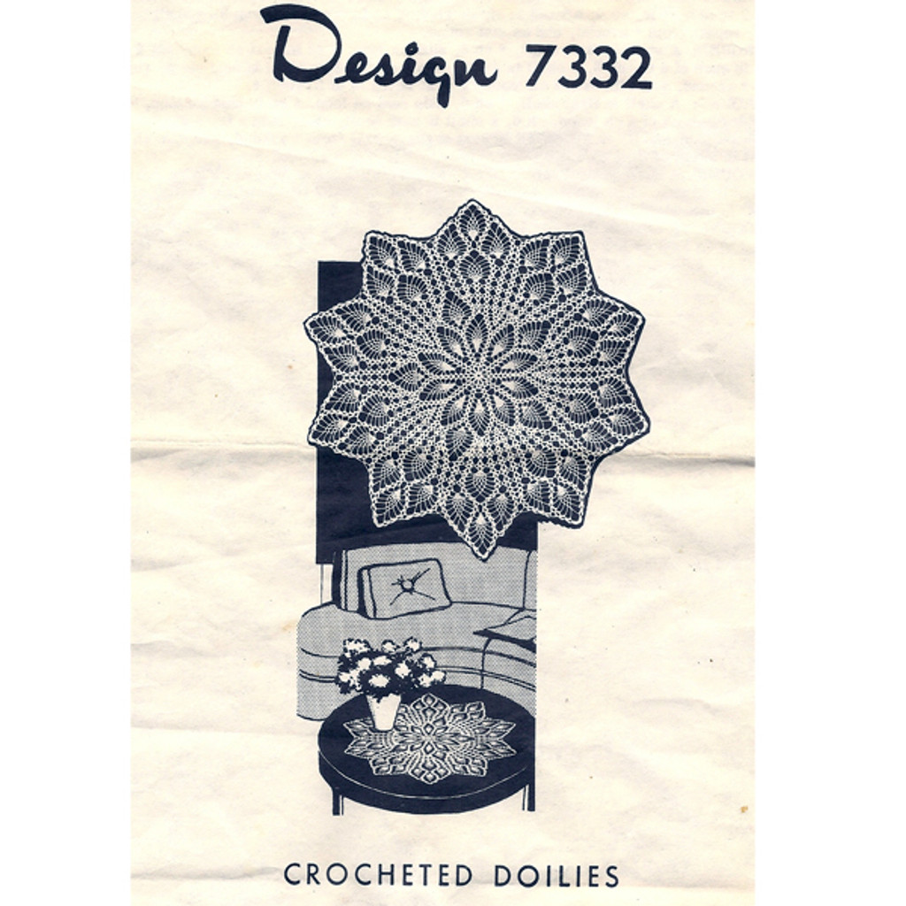 Mail Order Design 7332, Pineapple Crocheted Doily Pattern