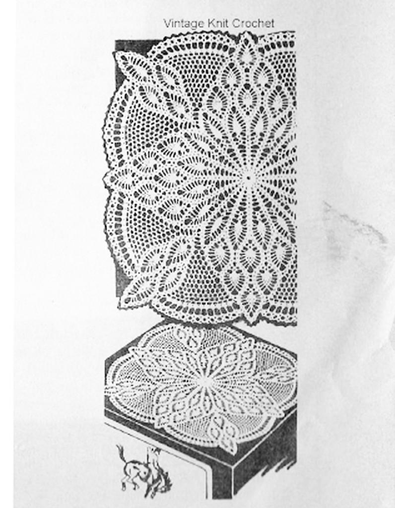 Square pineapple centerpiece doily pattern, Laura Wheeler 891