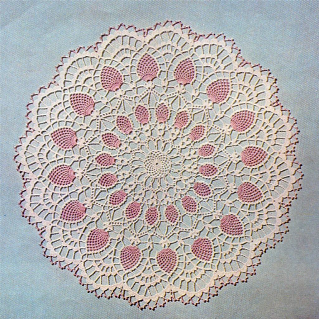 Pink White Pineapple Crochet Doily Pattern
