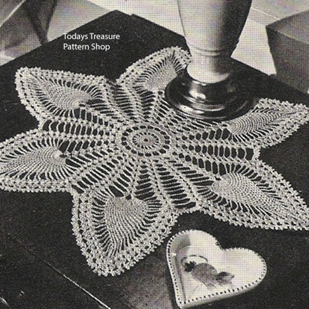 Six Pointed Pineapple Star Doily Pattern