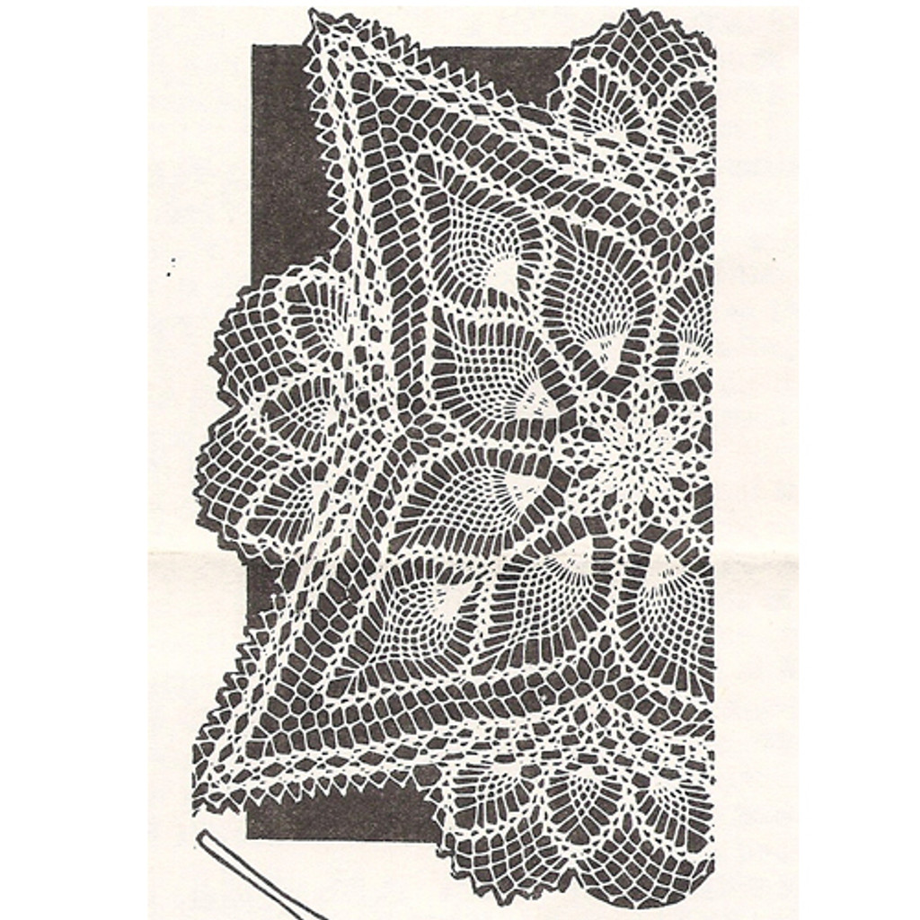 Square Crocheted Pineapple Doily Pattern Design 7209