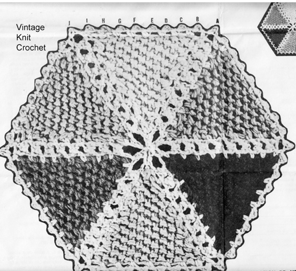Knitted Hexagon Medallion Pattern, Mail Order Design 777