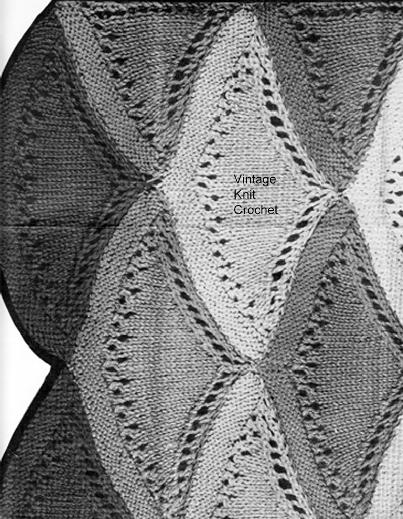 Knitted Shell Medallions Pattern Stitch Illustration for Afghan