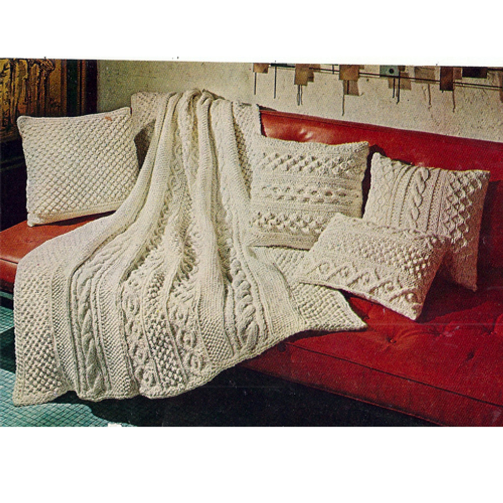 Vintage Aran Afghan Knitting Pattern