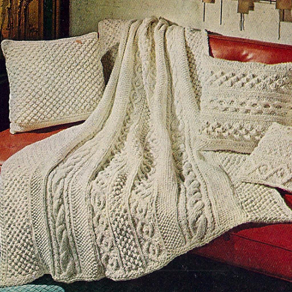 Knitting Pattern for Aran Afghan
