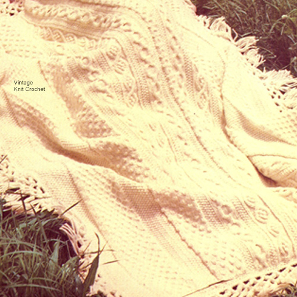 Bernat Fringed Cable Afghan Knitting Pattern