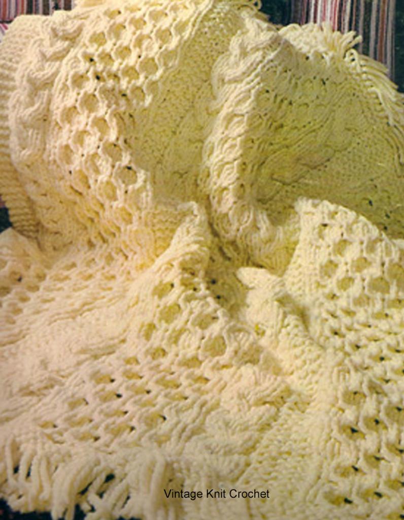 Irish Fisherman Knitted Afghan Pattern, Fringed