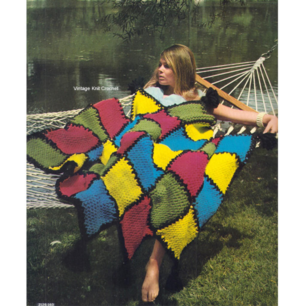 Big Needle Knitted Block Afghan Pattern from Bernat
