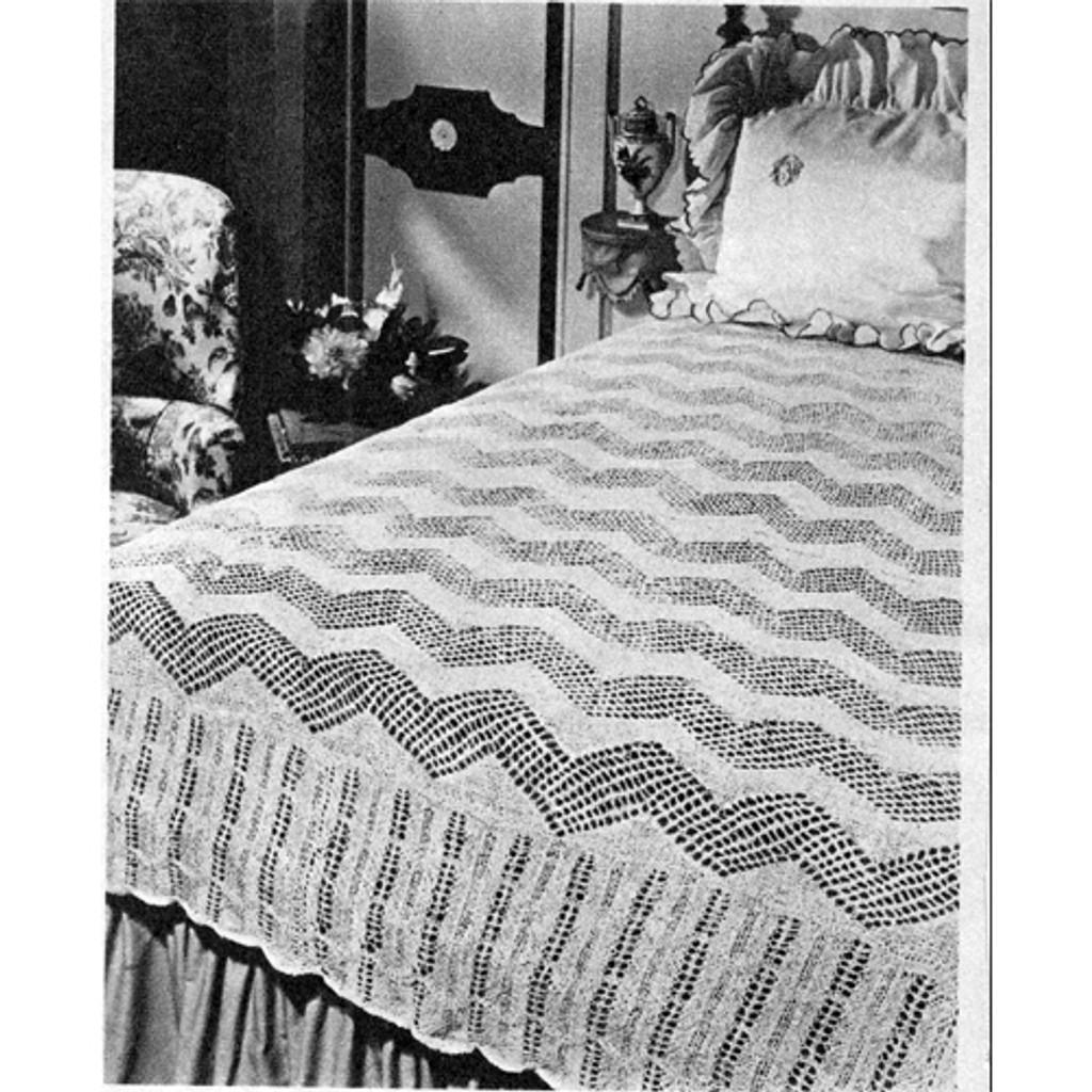 Knitted Zig Zag Bedspread Pattern, Vintage 1950s