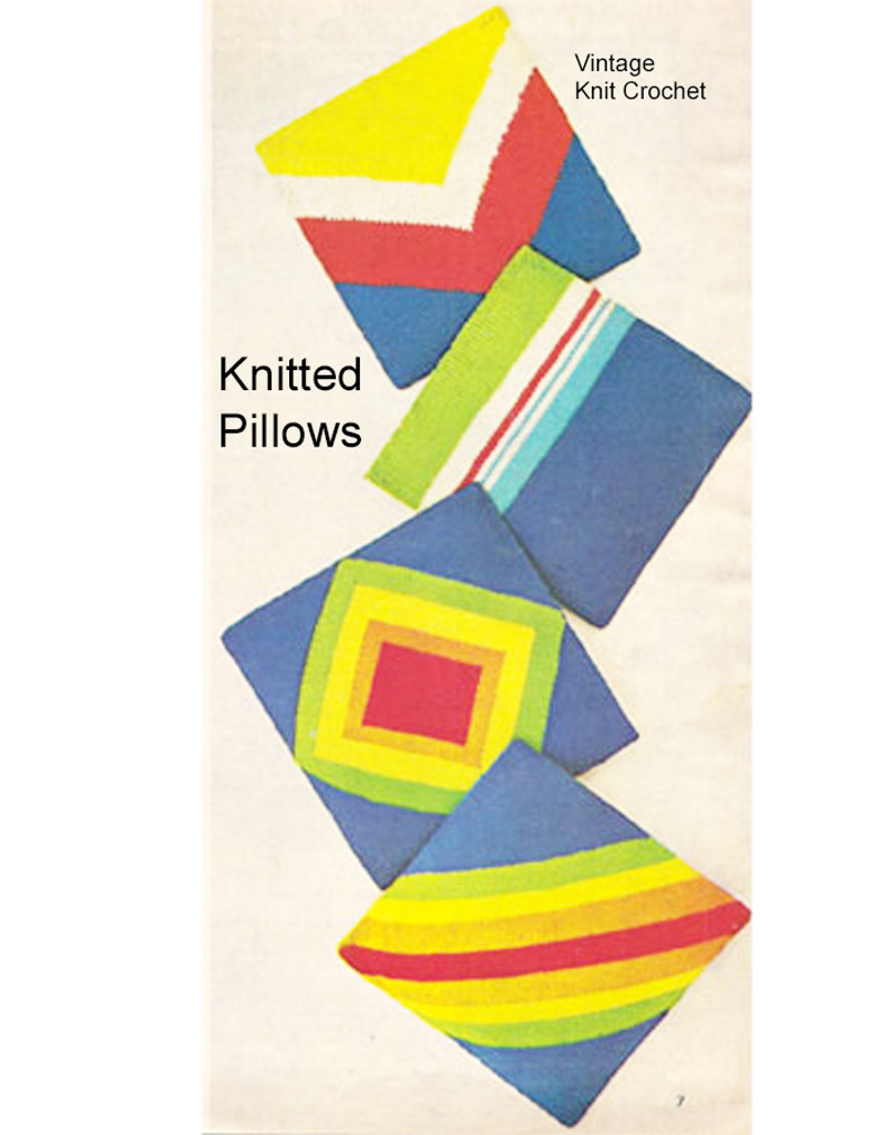 Pillows Knitting Pattern, 4 Geometric Motifs