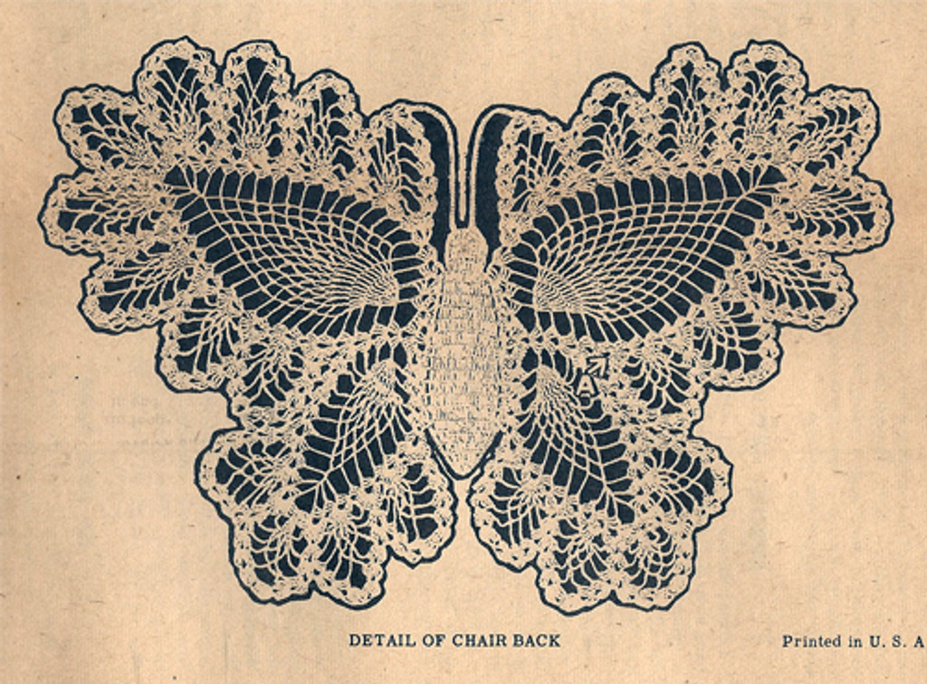 Detail of Crocheted Butterfly Doily pattern with pineapple edges