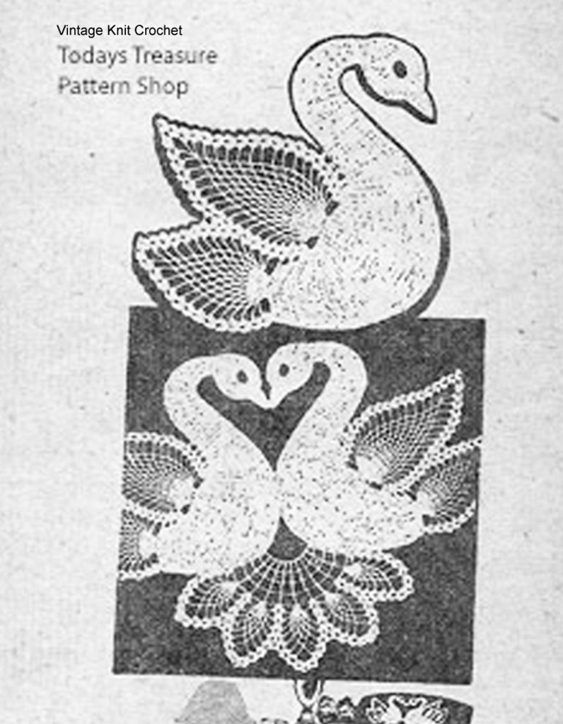 Vintage Chair Set Pattern, Twin Swans in Pineapple Stitch, Laura Wheeler 624